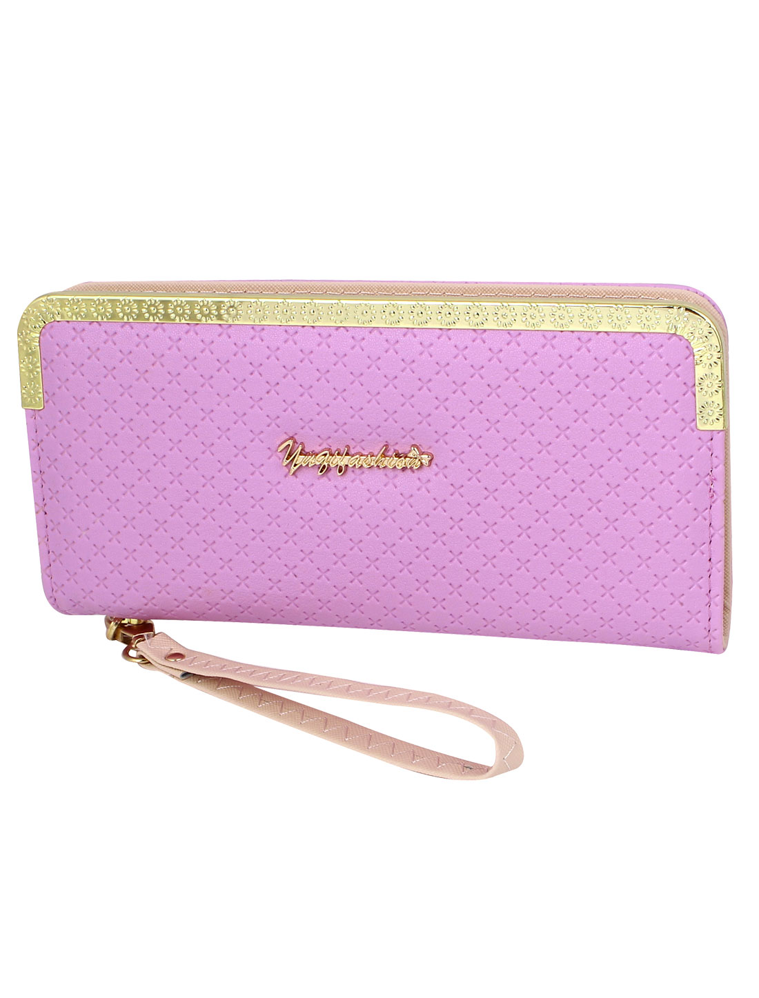 Lady Faux Leather Rectangle Zippered Zip Up Purse Wallet Money Card Holder Case Pink