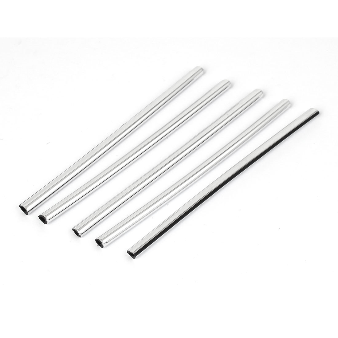 Car Door Window Air Outlet Rubber Seal Strip Chrome Edge Trim Silver Tone 5 Pcs
