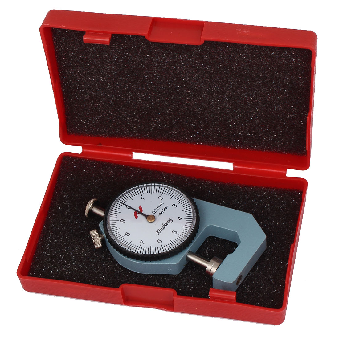 0-10mm x 0.1mm Dial Thickness Gauge Gage Measuring Tool Gray w Case