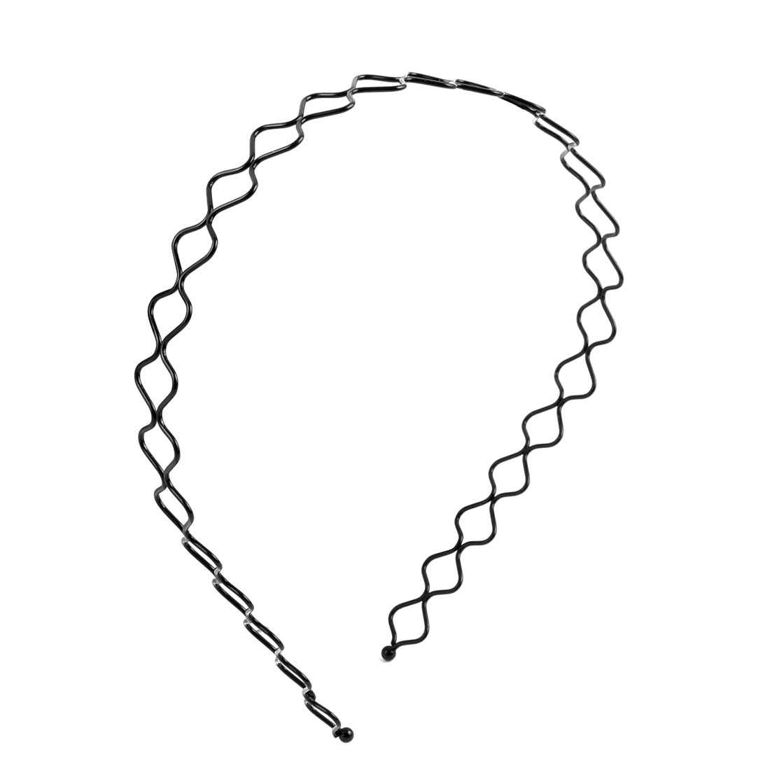 Unisex Metal Wavy Style Sports Hair Hoop Holder Headware Curve Headband Black