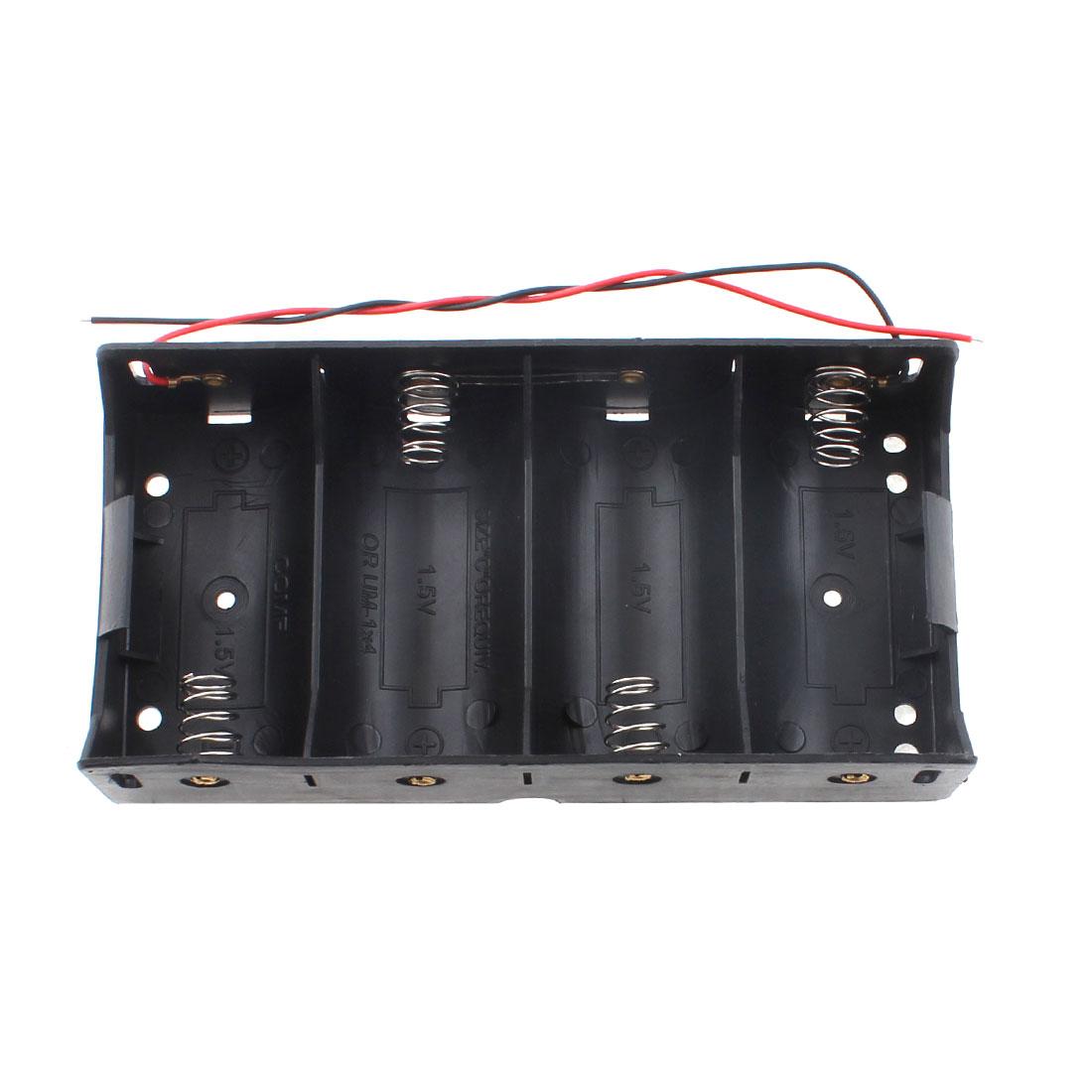 Plastic Rectangle Spring Load 4 x 1.5V C Size Battery Holder Storage Case Box