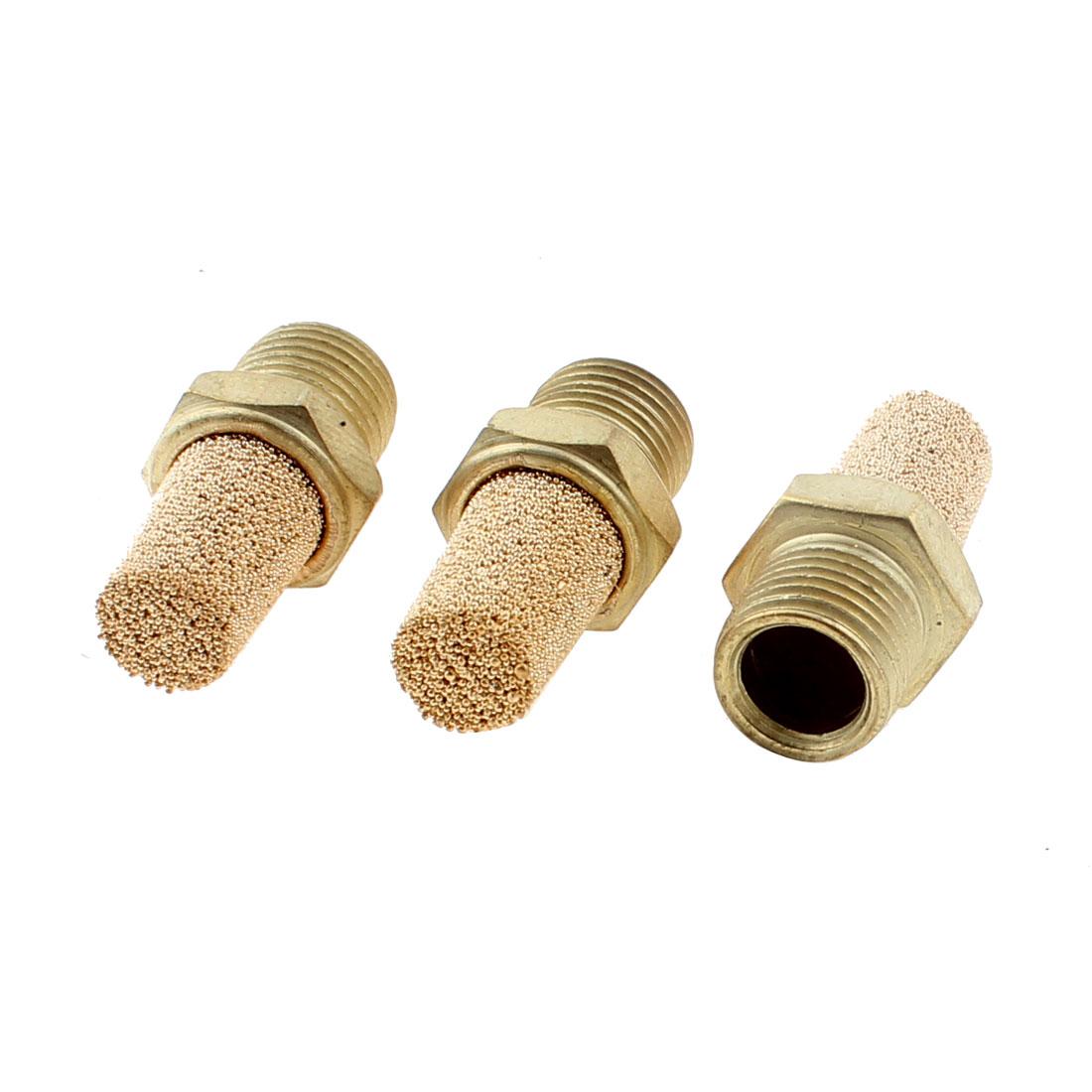 1/8BSP Male Thread Noise Reducing Pneumatic Muffler Silencer Filter 3PCS
