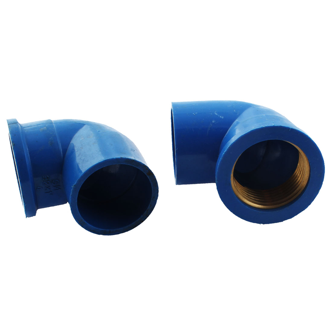 PPR 1BSP Female Thread 32mm Inner Dia 2 Way Pipe Fitting Connector Blue 2pcs