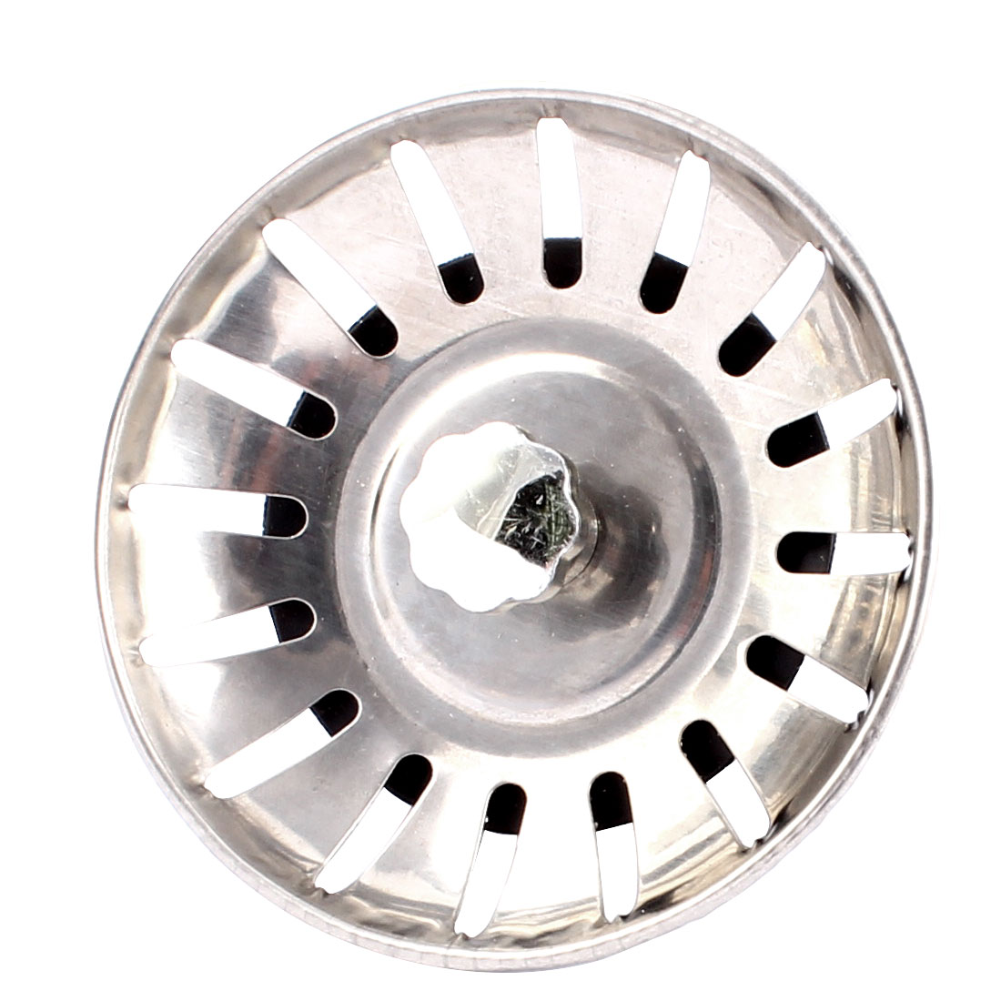 Sink Strainer Drain 16 Holes Basket Garbage Stopper Silver Tone