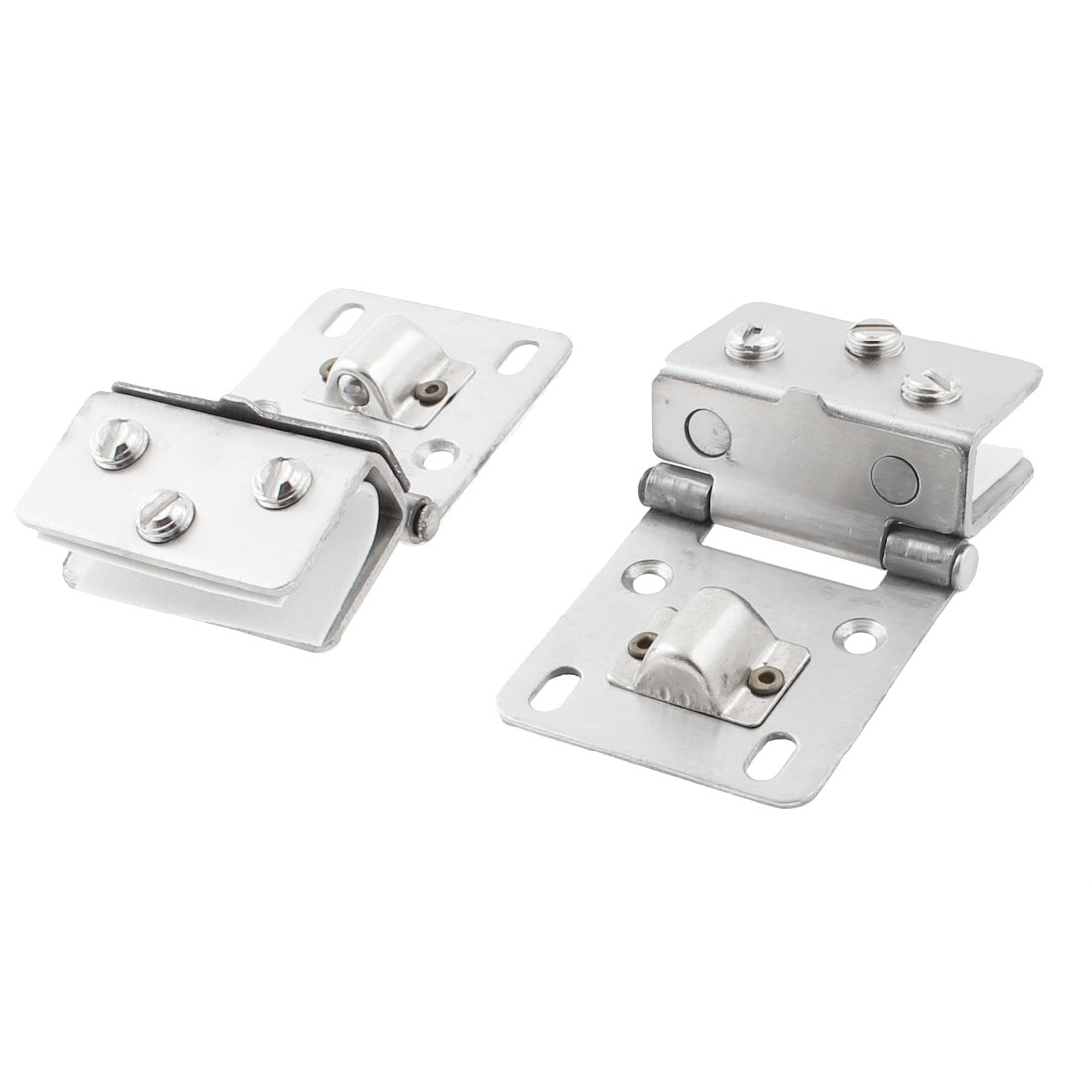 Cabinet 8mm-12mm Thickness Glass Door Metal Wall Mounted Clamp Clip Hinge 2pcs