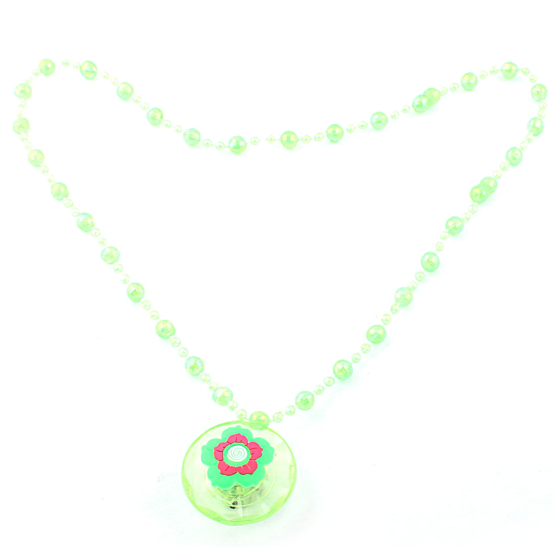 Flower Decor Round Pendant Accessory Light Up Flashing Necklace Green Clear