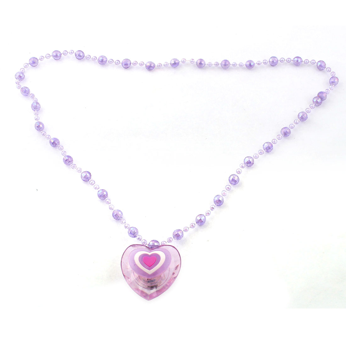 Heart Pendant Light Up Flashing Necklace Accessory Purple Clear
