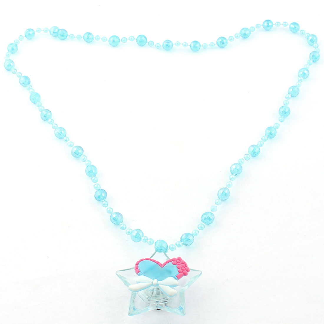 Star Pendant Neck Glow Decor Light Up LED Flashing Necklace Blue Clear