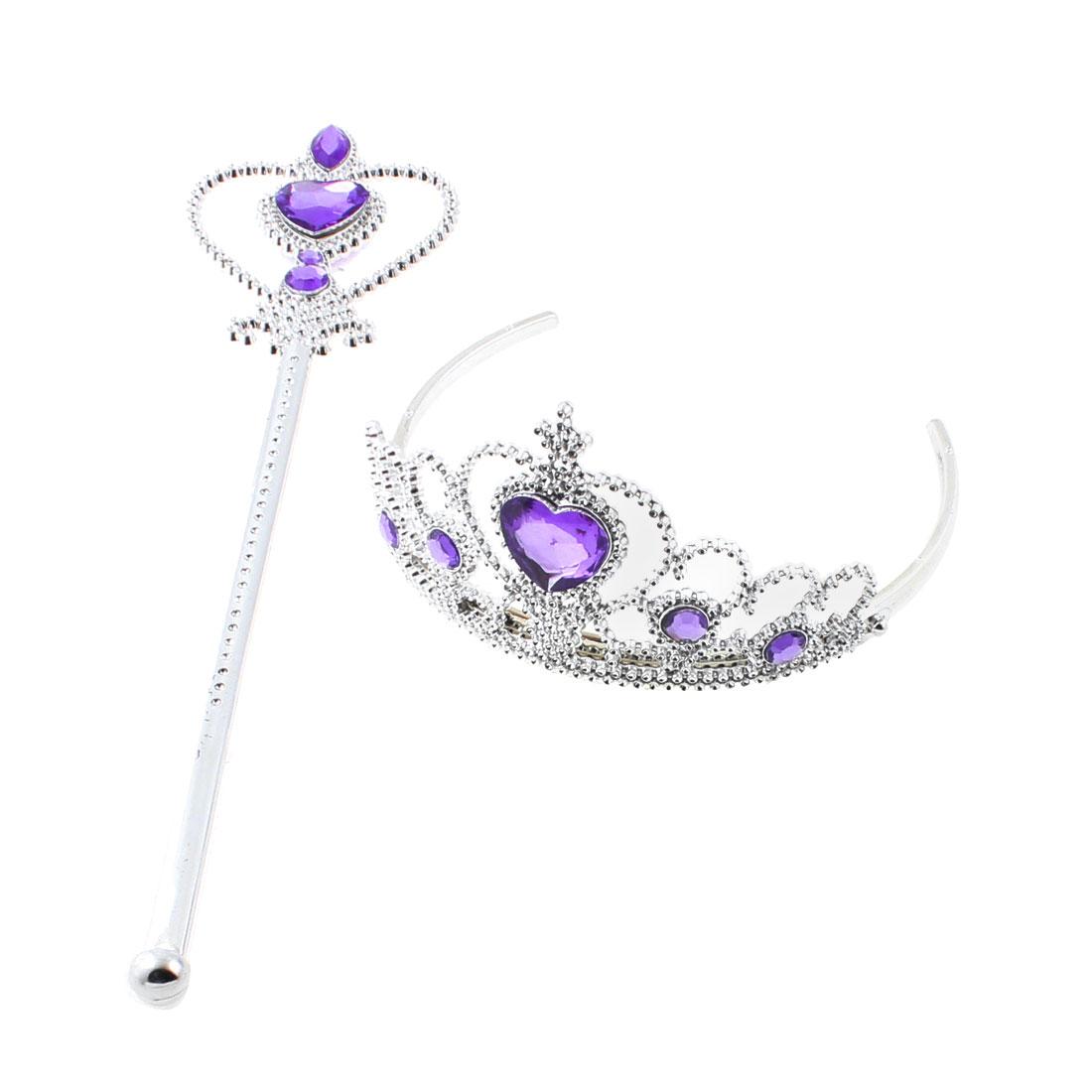Princess Crown Hair Band Magic Wand Party Cosplay Silver Tone Set