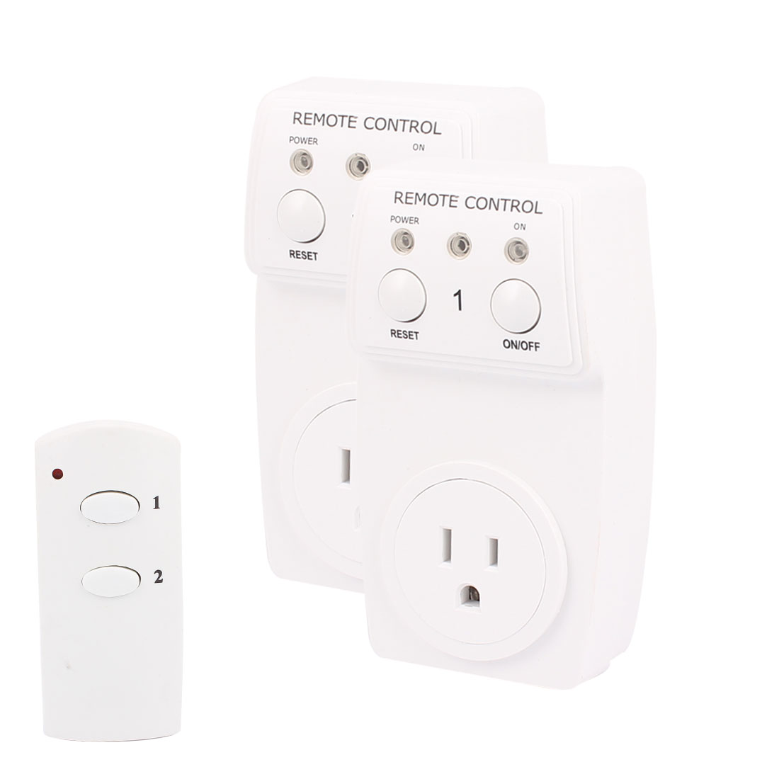 2-Pack AC120V 10A US Plug Outlet Wireless Remote Control Socket Lamp Socket Switch