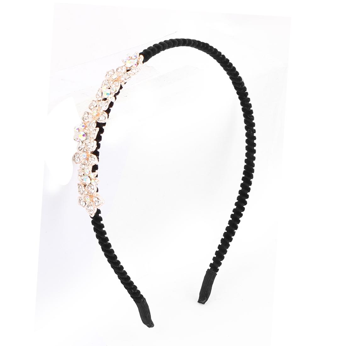 Lady Shiny Rhinestone Inlaid Flowers Shape Design Hair Hoop Hairband Headband Headdress Hairpin Black Copper Tone