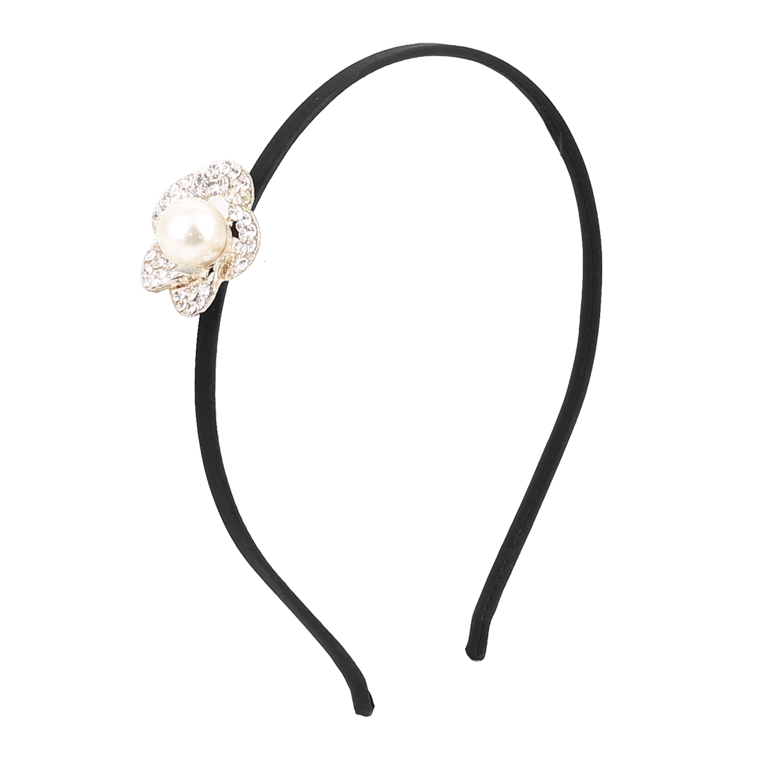 Lady Imitation Pearl Decor Flower Shape Design Hair Hoop Hairband Headband Headdress Hairpin Black