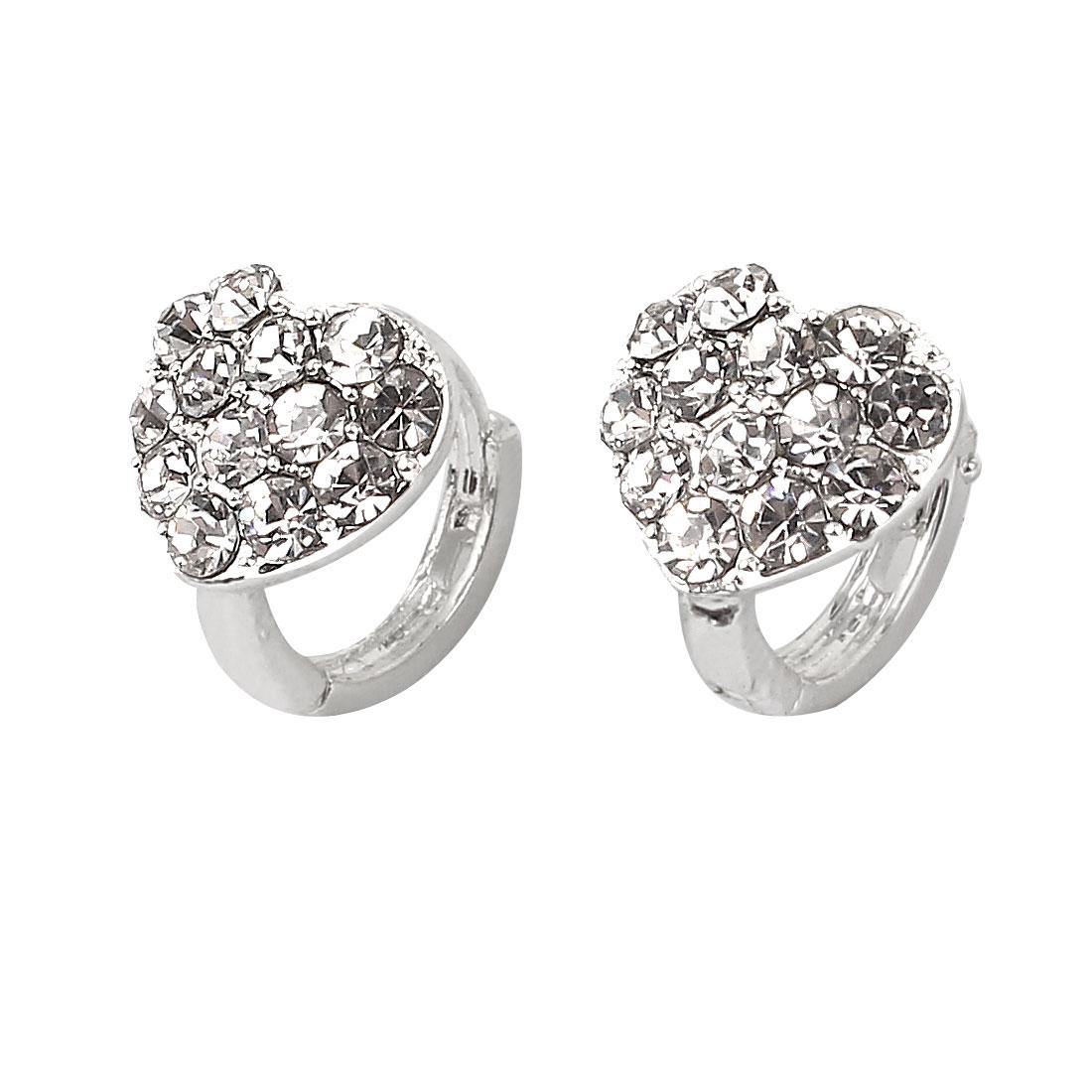 Plastic Rhinestones Inlaid Metal Circle Hoop Glittery Earrings Pair