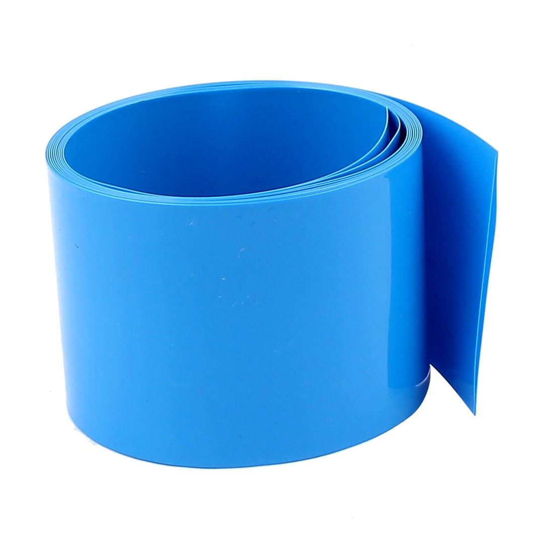 6.6ft 50mm Flat 32mm Dia PVC Heat Shrink Tubing Blue for 2 x 18650 Battery