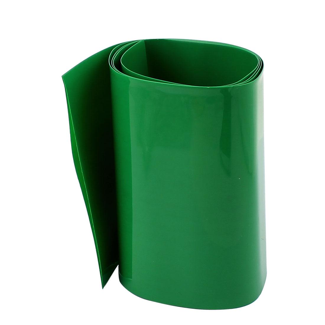 3.3ft 103mm Flat 65mm Dia PVC Heat Shrink Tubing Green for 18650 Battery
