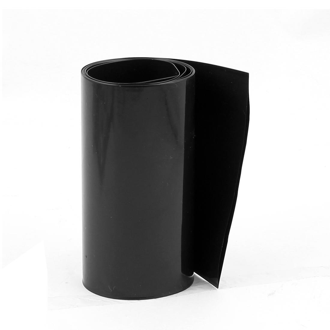 3.3ft 103mm Flat 65mm Dia PVC Heat Shrink Tubing Black for 18650 Battery
