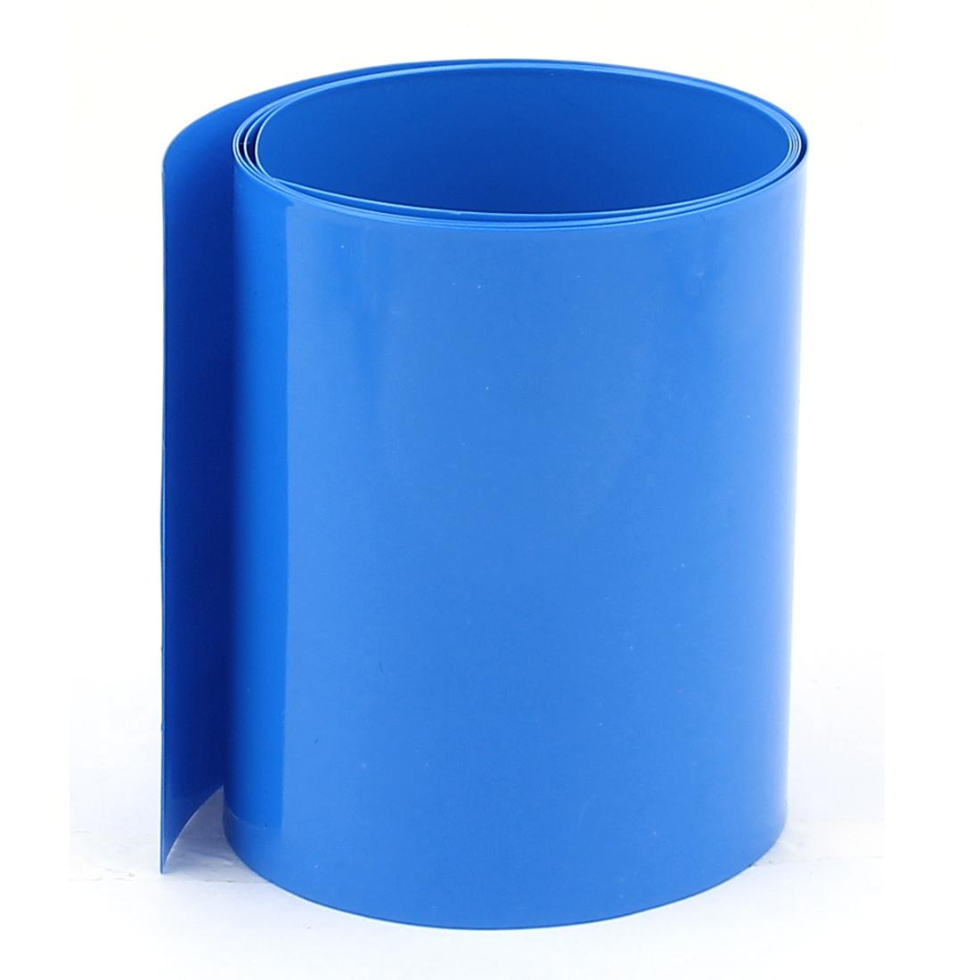 3.3ft 85mm Flat 54mm Dia PVC Heat Shrink Tubing Blue for 4 x 18650 Battery