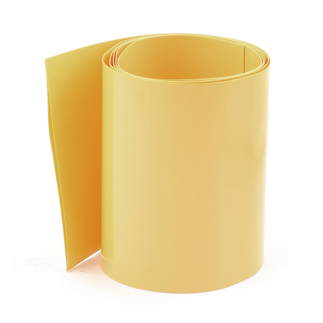 3.3ft 85mm Flat 54mm Dia PVC Heat Shrink Tubing Yellow for 4 x 18650 Battery