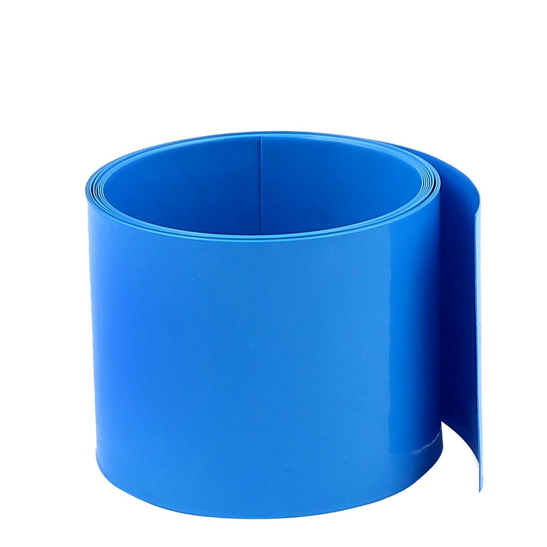 6.6ft 60mm Flat 38mm Dia PVC Heat Shrink Tubing Blue for 18650 Battery