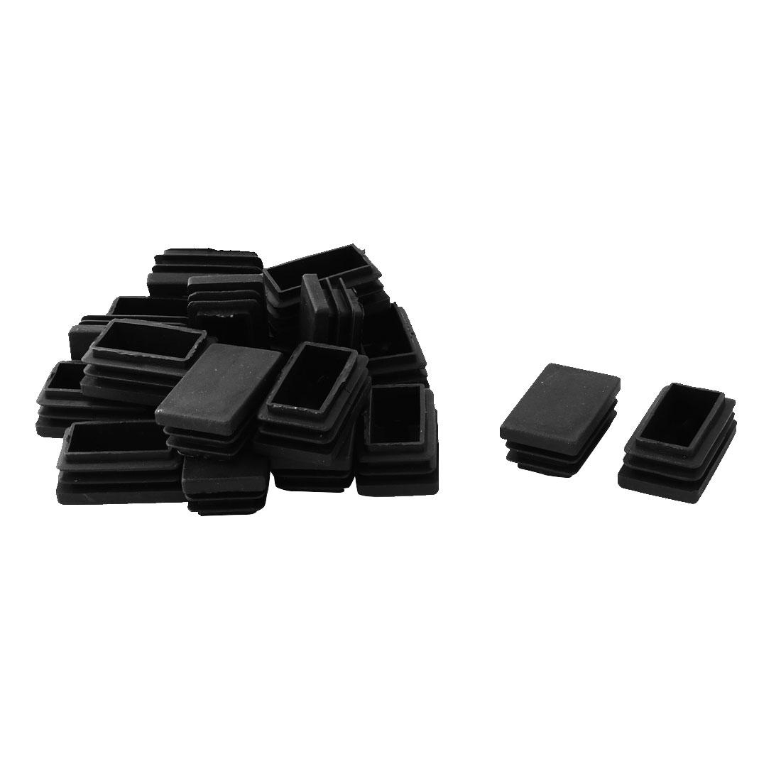 50mm x 30mm Plastic Rectangle Table Chair Leg Feet Tube Pipe Insert End Cap Black 20pcs