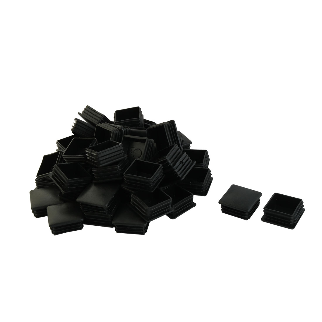 40mm x 40mm Plastic Square Table Chair Leg Feet Tube Pipe Insert End Cap Black 50pcs
