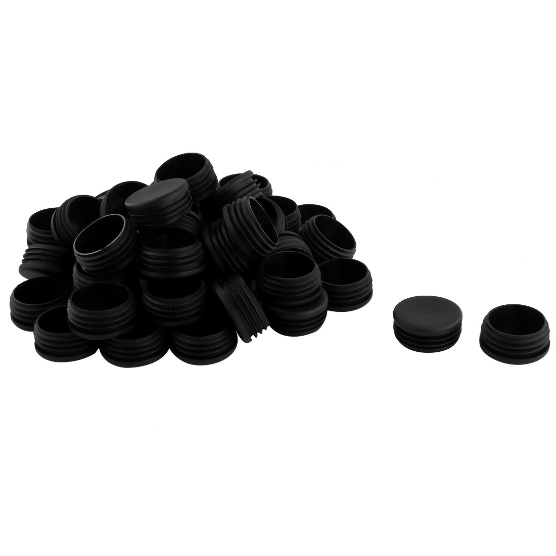 45mm Dia Plastic Round Table Chair Leg Feet Tube Pipe Insert Blanking End Cap Black 50pcs