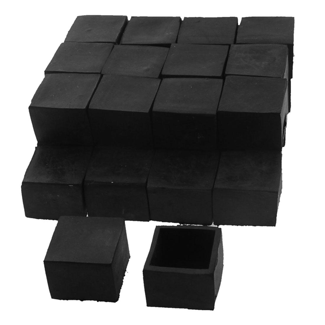 30mm x 30mm Square Shaped Furniture Table Desk Foot Leg Rubber End Cap Cover Black 30pcs