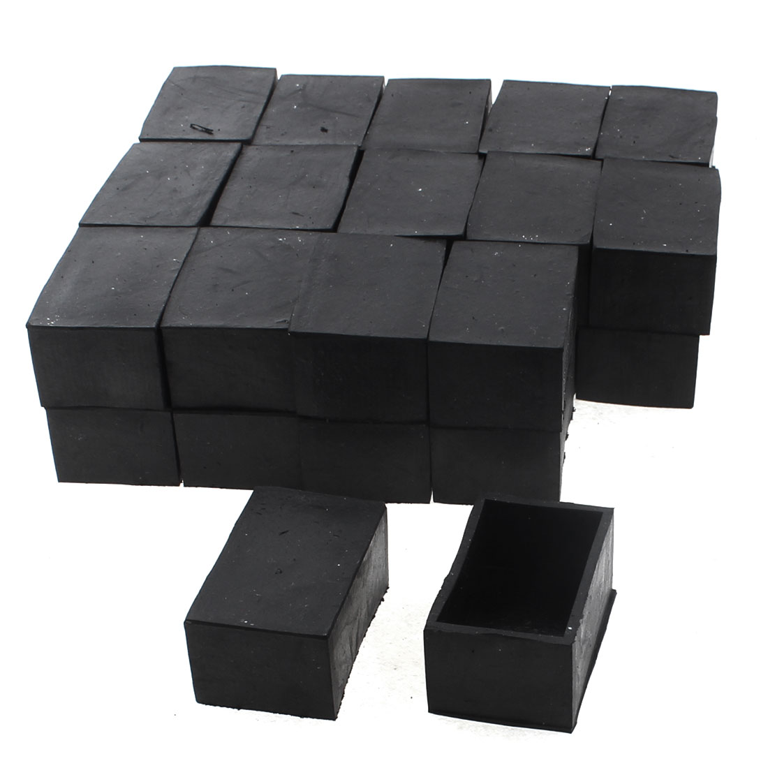 50mm x 30mm Rectangle Shape Furniture Table Chair Foot Leg Rubber End Cap Cover Black 30pcs