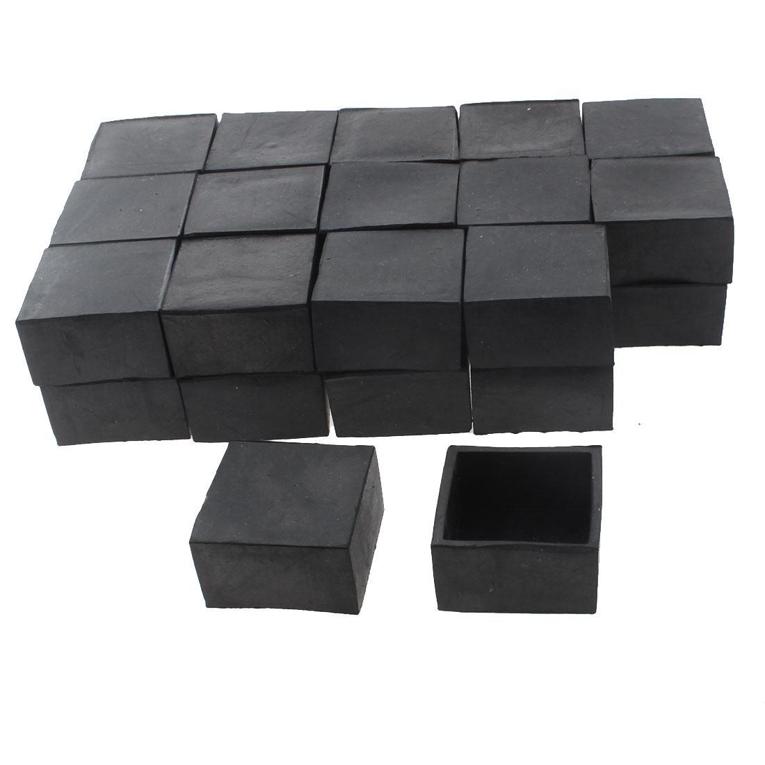 40mm x 40mm Square Shaped Furniture Table Chair Foot Leg Rubber End Cap Cover Black 30pcs