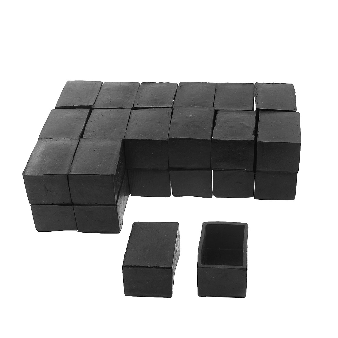 40mm x 25mm Rectangle Shape Furniture Table Chair Foot Leg Rubber End Cap Cover Black 30pcs