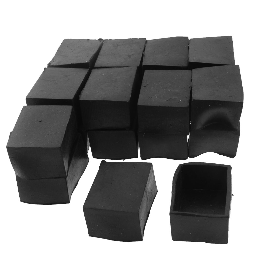40mm x 30mm Rectangle Shape Furniture Table Chair Foot Leg Rubber End Cap Cover Black 20pcs