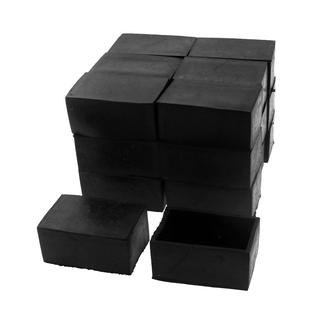 50mm x 30mm Rectangle Shape Furniture Table Chair Foot Leg Rubber End Cap Cover Black 20pcs