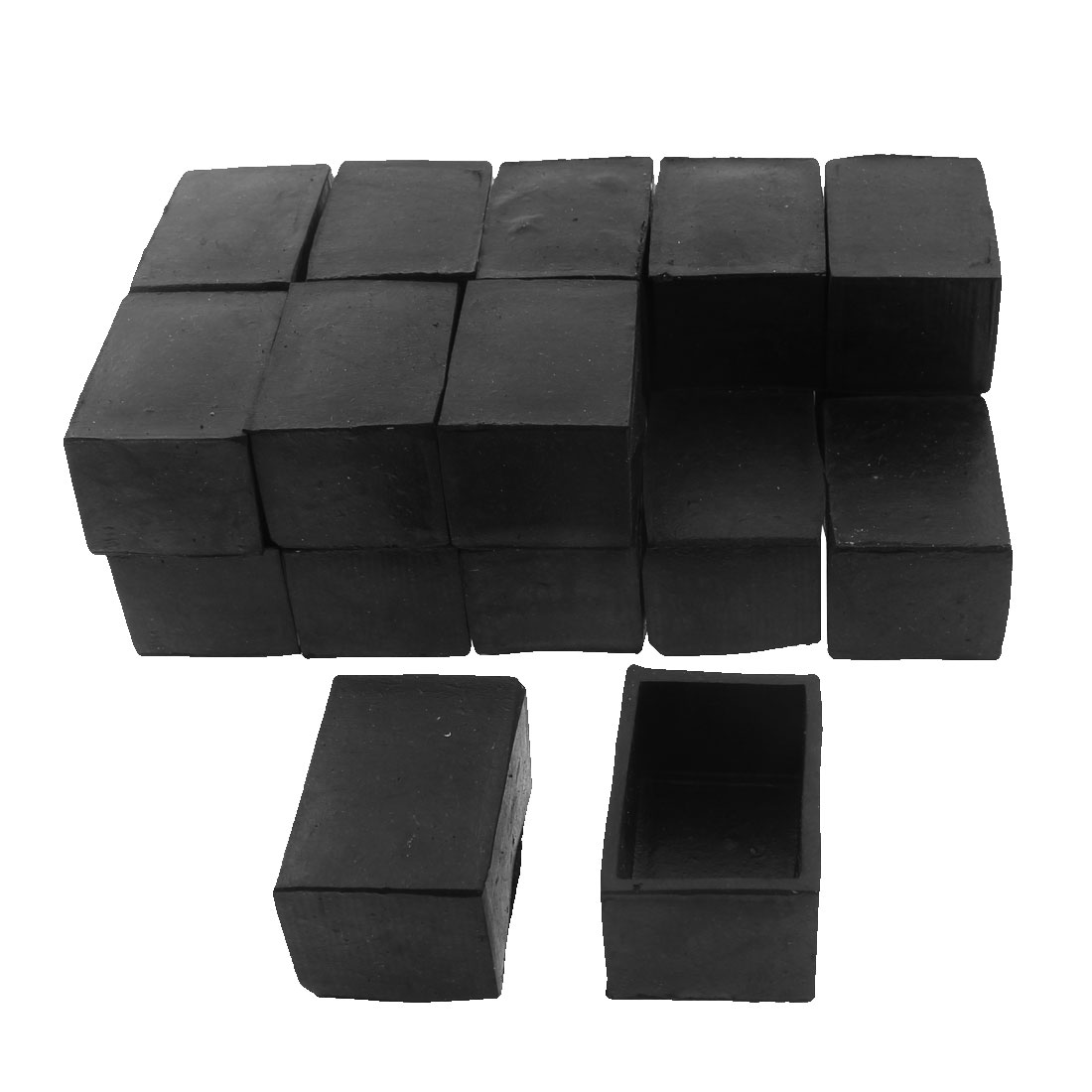 40mm x 25mm Rectangle Shape Furniture Table Chair Foot Leg Rubber End Cap Cover Black 20pcs