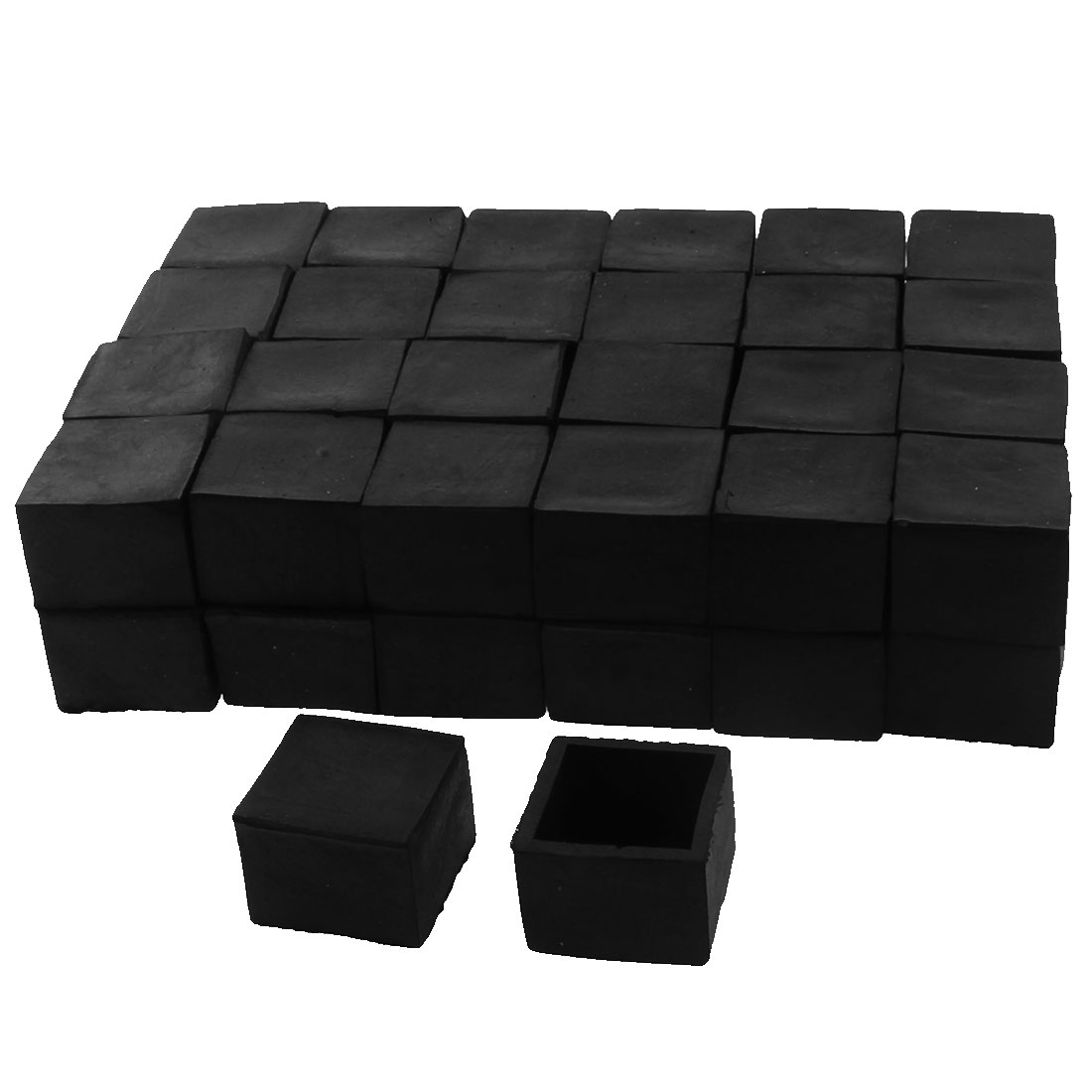 30mm x 30mm Square Shaped Furniture Table Chair Foot Leg Rubber End Cap Cover Black 50pcs