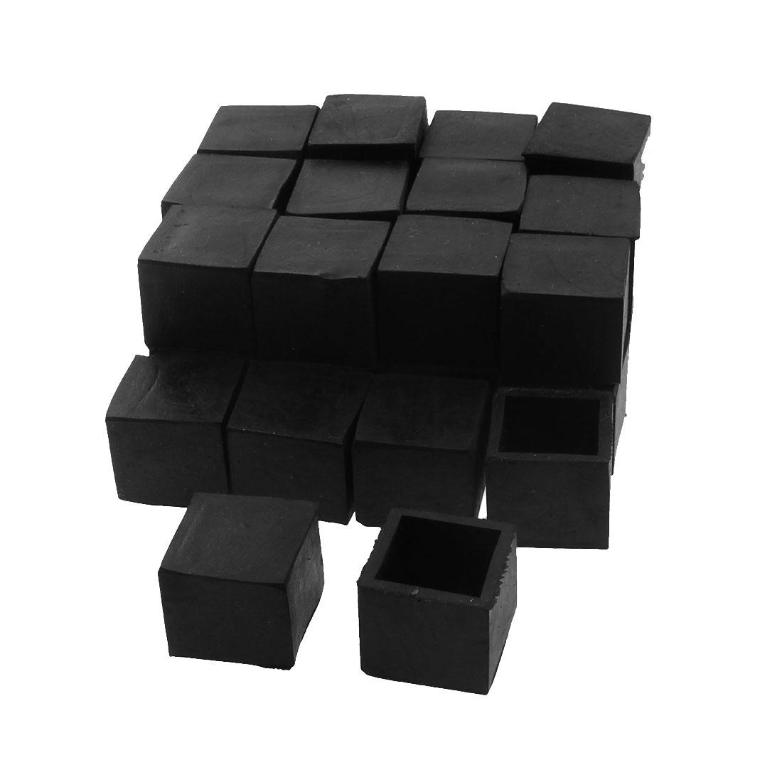 25mm x 25mm Square Shaped Furniture Table Desk Foot Leg Rubber End Cap Cover Black 30pcs