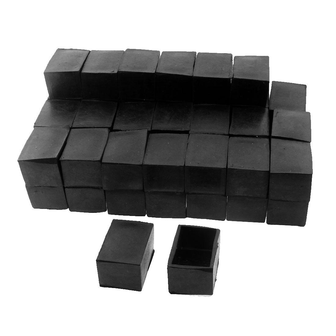 40mm x 25mm Rectangle Shape Furniture Table Desk Foot Leg Rubber End Cap Cover Black 50pcs