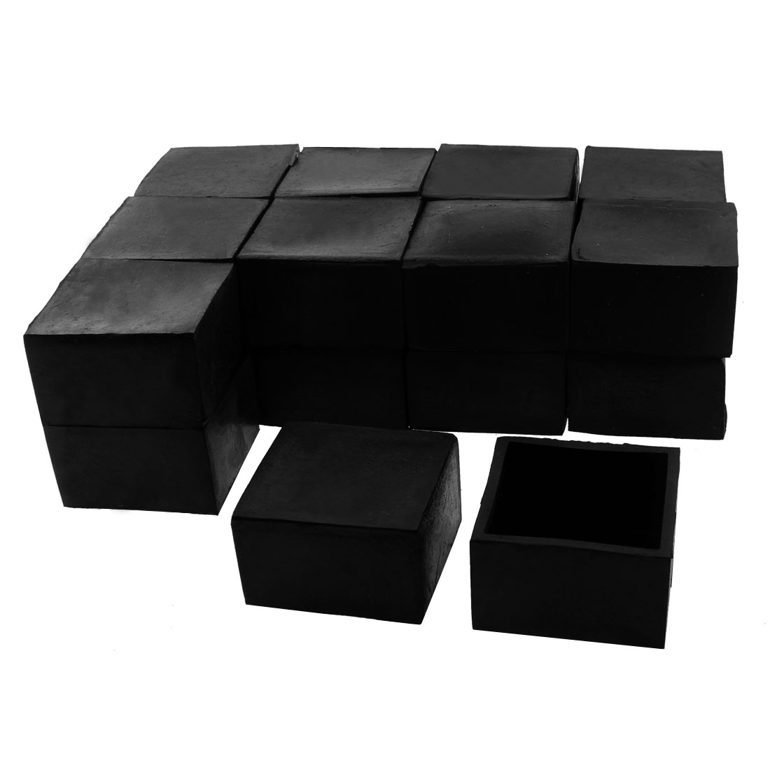 50mm x 50mm Square Shaped Furniture Table Chair Foot Leg Rubber End Cap Cover Black 20pcs