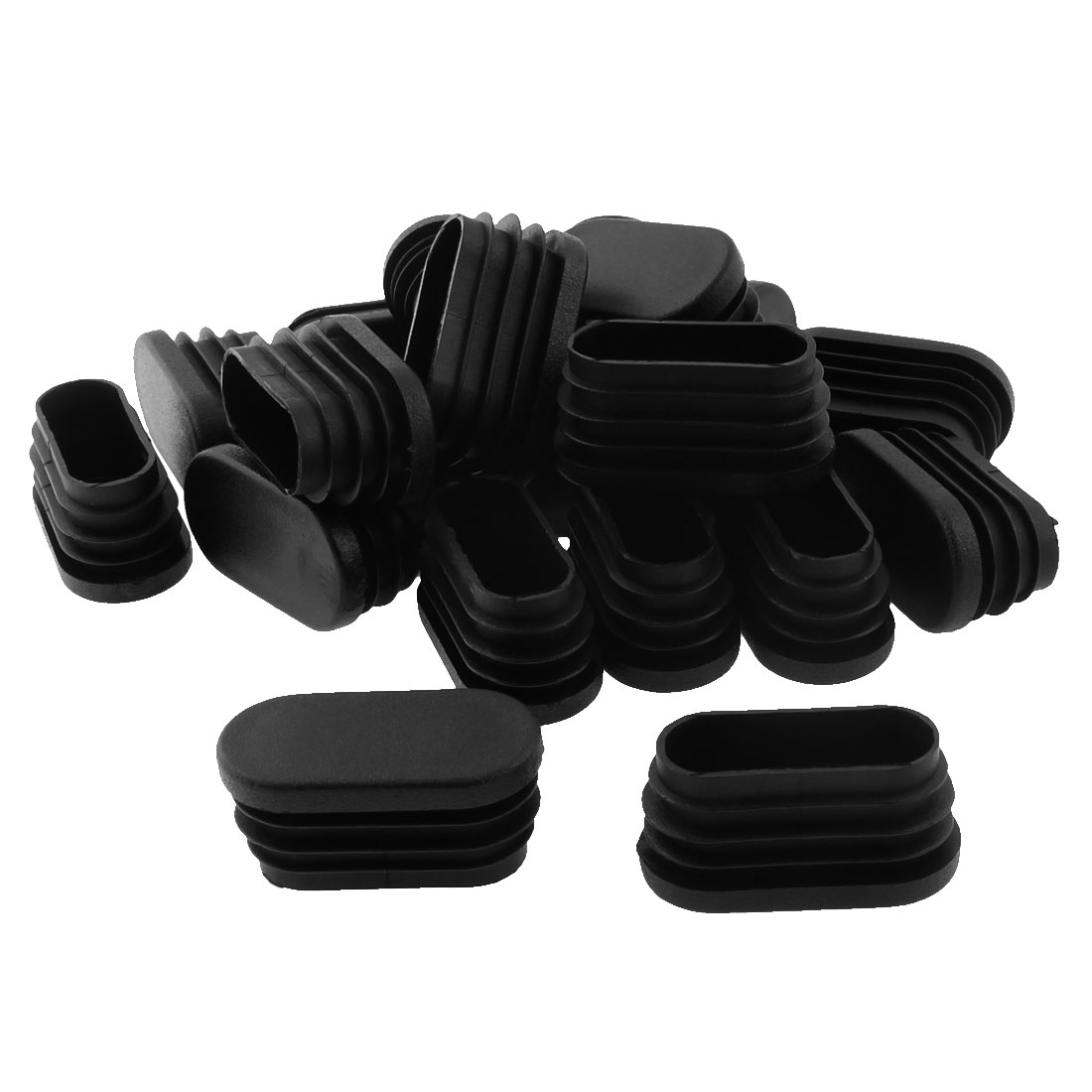 40mm x 20mm Plastic Oval Table Chair Leg Feet Tube Pipe Insert End Cap Black 20pcs