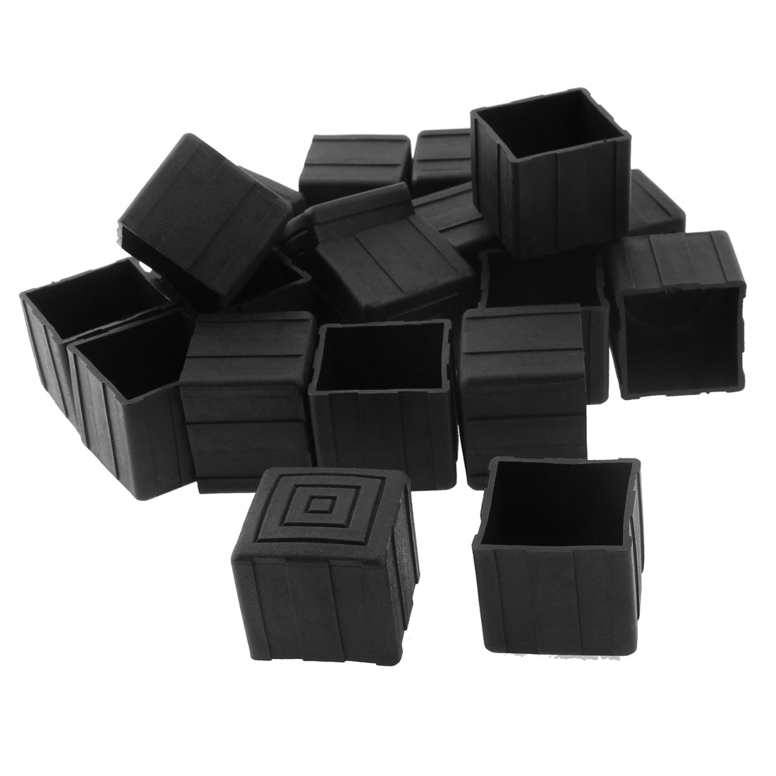25mm x 25mm Square Shaped Furniture Table Chair Leg Foot Plastic Cover Cap Black 20pcs