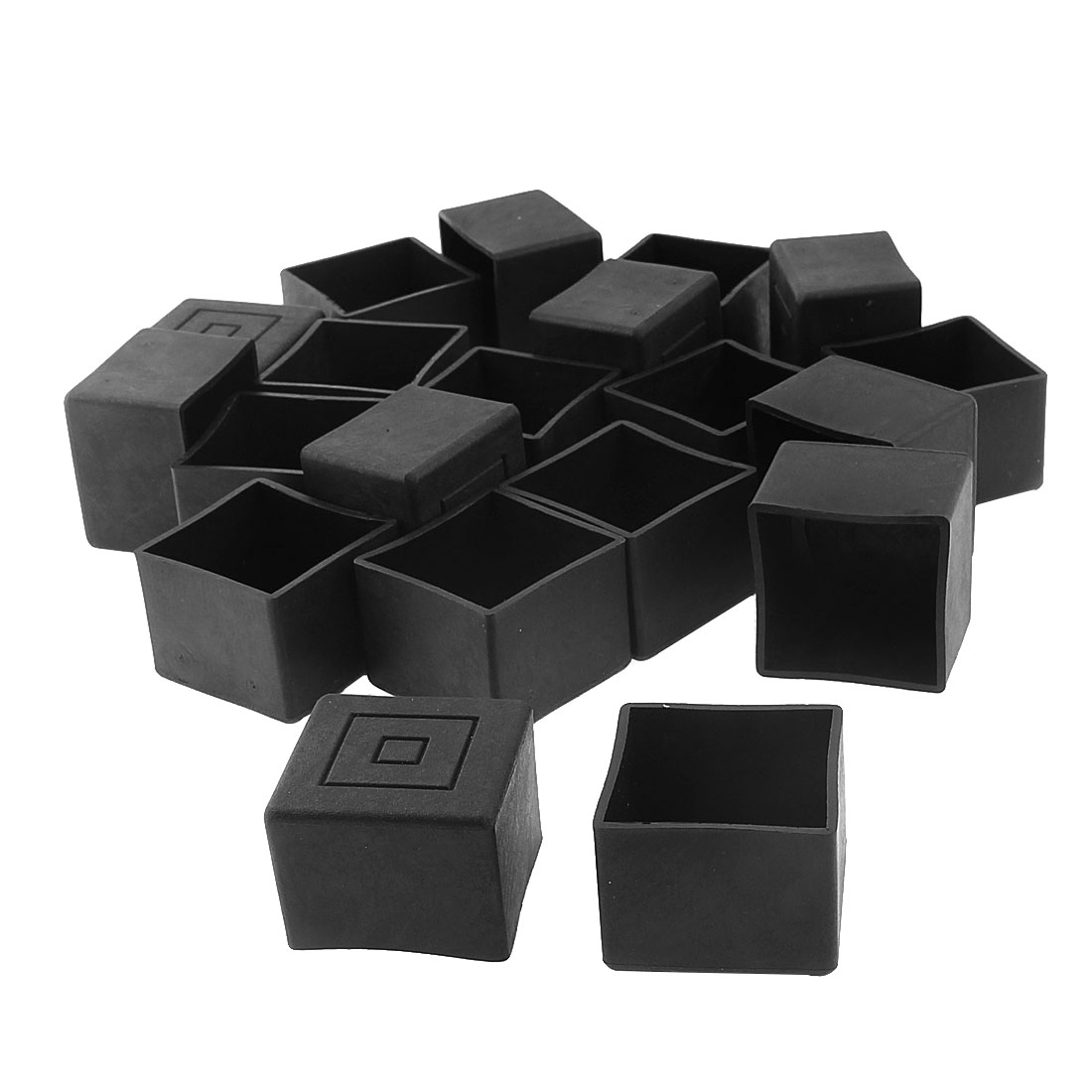 30mm x 30mm Square Shaped Furniture Table Chair Leg Foot Plastic Cover Cap Black 20pcs