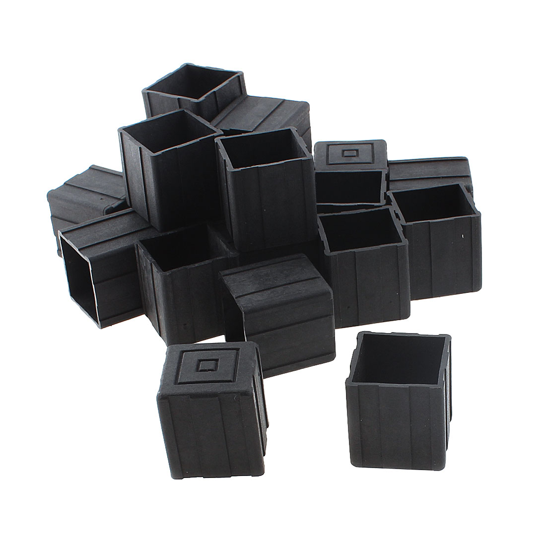 20mm x 20mm Square Shaped Furniture Table Chair Leg Foot Plastic Cover Cap Black 20pcs