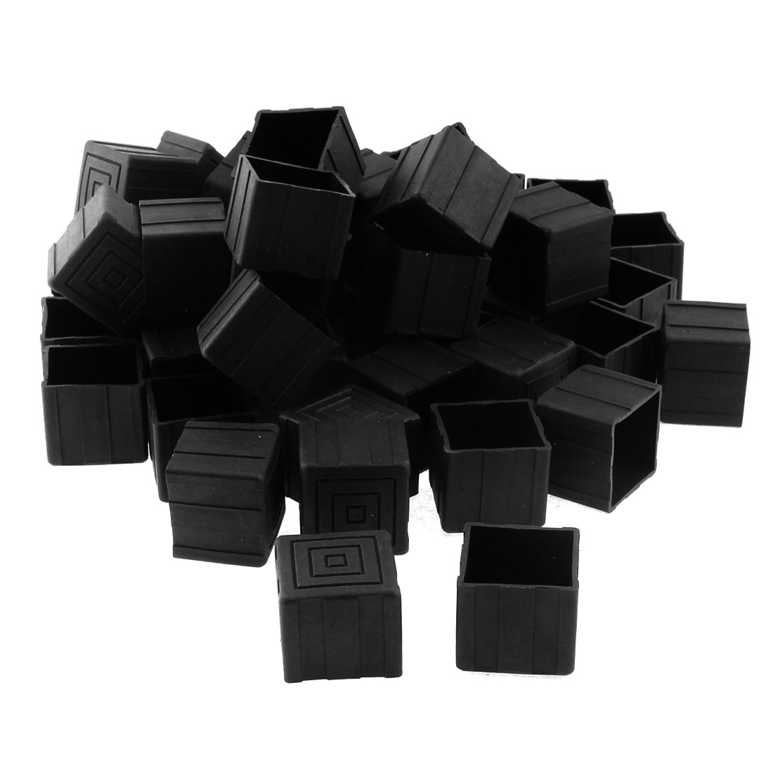 25mm x 25mm Square Shaped Furniture Table Chair Leg Foot Plastic Cover Cap Black 50pcs
