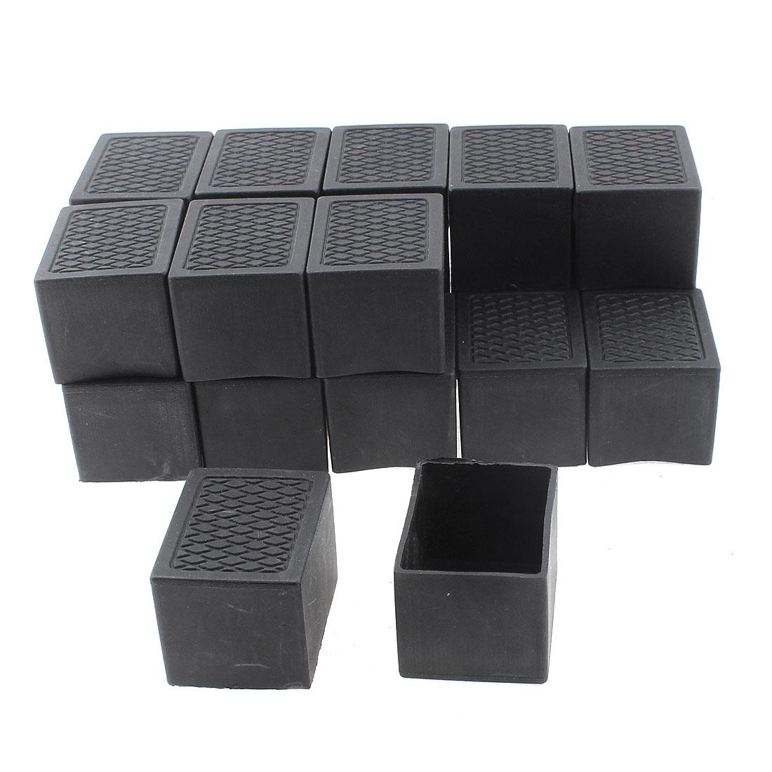 40mm x 30mm Rectangle Shaped Furniture Table Chair Leg Foot Plastic Cover Cap Black 20pcs