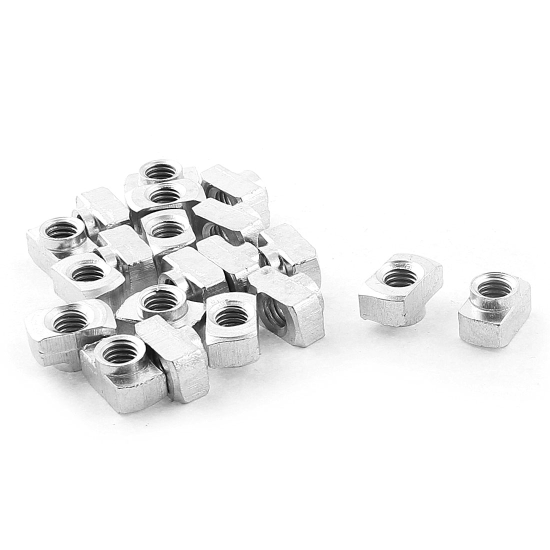 M6 Female Thread 40 Series T Slot Hammer Head Drop-in Nut Silver Tone 20pcs