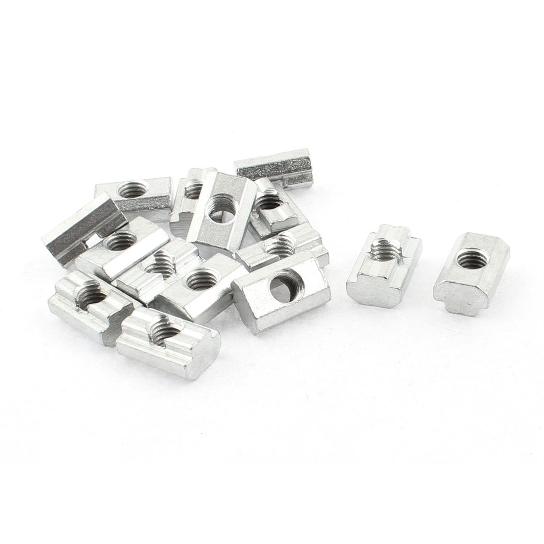M8 Female Thread Metal T-slot Sliding Block Slot Nut Silver Tone 15pcs