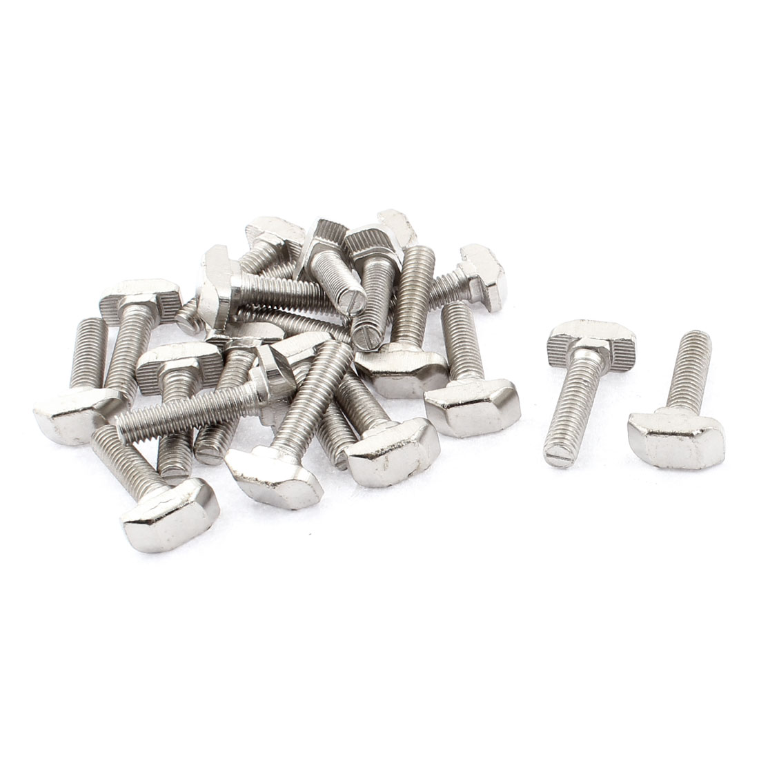 M6 x 25mm Metal T Slot Drop-in Stud Sliding Bolt Screw Silver Tone 20pcs