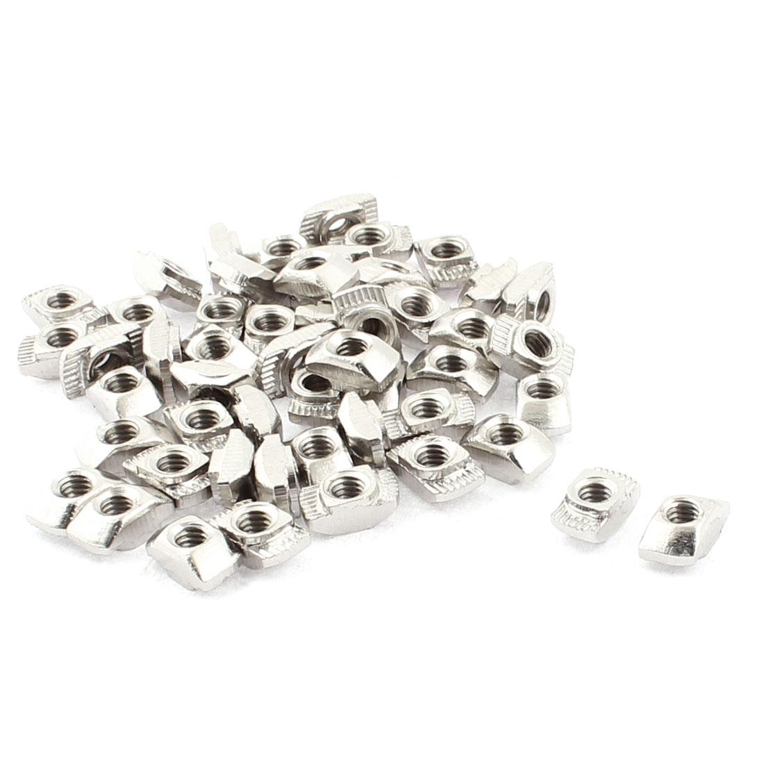 M4 Female Thread Metal T Slot Hammer Head Drop in Nut Silver Tone 50pcs