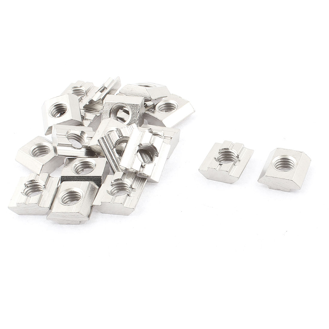 M8 Female Thread Metal T-slot Sliding Block Slot Nut Silver Tone 20pcs