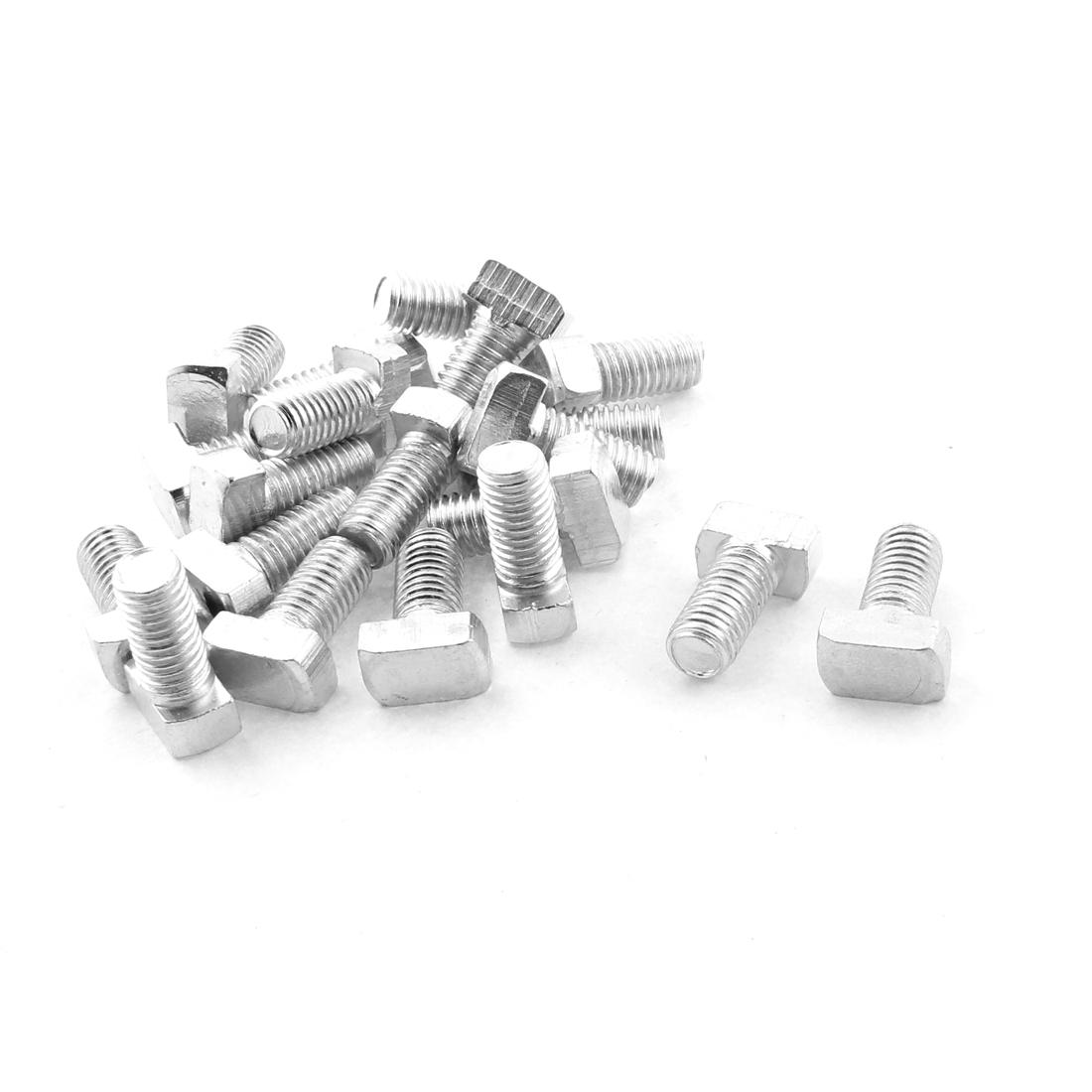 M8 x 16mm 40 Series Hammer Head Metal T-bolt T Bolt Screw Silver Tone 20pcs
