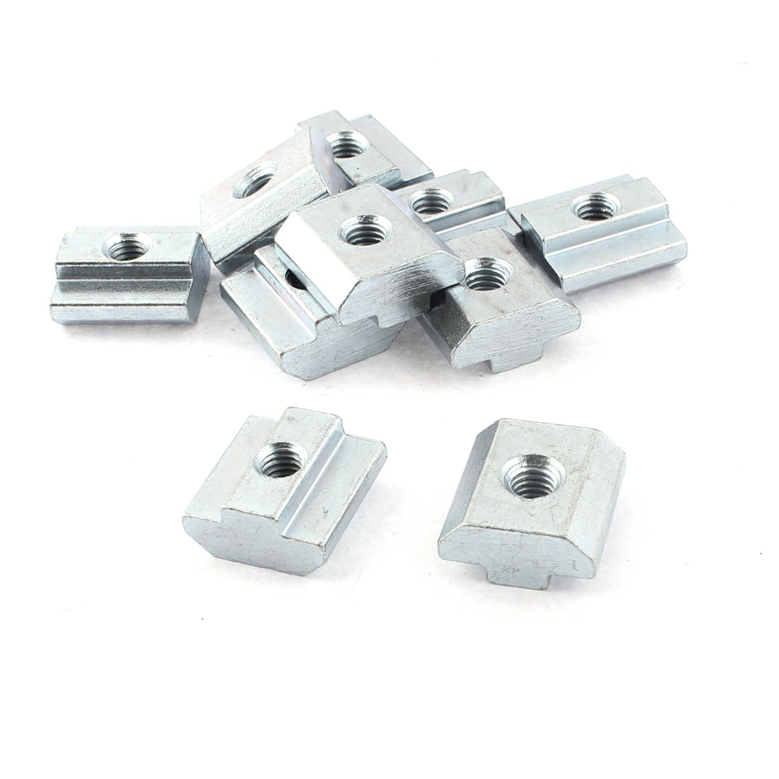 M6 Female Thread 40 Series Slide in Metal T-slot Nut Silver Tone 10pcs